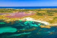 Rottnest Island Pink lake stock image