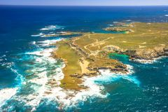 Rottnest Island West End. Aerial view of West End, the most popular western point of Rottnest Island, Australia, a rugged piece of coastline famous for waves Stock Image