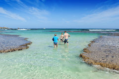 Rottnest Island Western Australia. People about to go snorkelling in the ocean on Rottnest Island, Western Australia Stock Photo