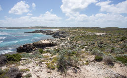 Rottnest Land and Sea. View overlooking the turquoise Indian Ocean seascape with lush dunes and limestone rock formations at Rottnest Island in Western Australia Stock Photos