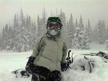 Rottura del cavaliere della macchina della neve della donna Fotografia Stock Libera da Diritti