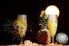 Rottura del vetro del champagne Fotografie Stock Libere da Diritti