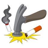 Rottura dell'abitudine di fumare Immagini Stock