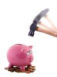 Rottura della banca piggy Fotografie Stock