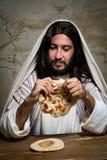 Rottura della cena del pane finalmente fotografia stock