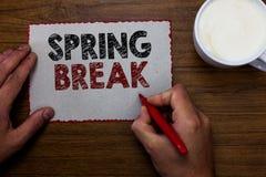 Rottura di primavera del testo di scrittura di parola Il concetto di affari per il periodo di vacanza alla scuola e le università immagine stock libera da diritti
