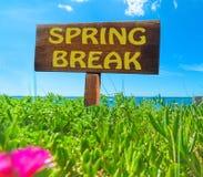 Rottura di primavera scritta su un segno di legno immagini stock