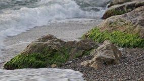 Rottura di vrlna del mare circa le pietre stock footage