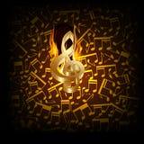 Rottura musicale del fuoco del fondo con una chiave tripla royalty illustrazione gratis