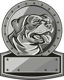 Rottweiler Guard Dog Shield Metallic Circle Retro Royalty Free Stock Image