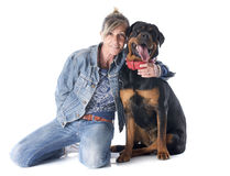 Rottweiler and woman Royalty Free Stock Photography