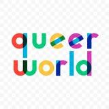 Rotulação alegre do arco-íris do vetor estranho do mundo ilustração stock