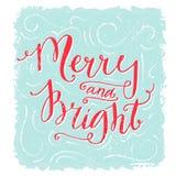 Rotulação alegre e brilhante Papai Noel em um sledge Texto escrito à mão vermelho no fundo azul da textura Estilo do vintage ilustração do vetor