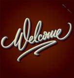 Rotulação bem-vinda da mão Imagens de Stock Royalty Free