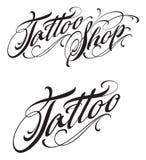 Rotulação caligráfica da loja da tatuagem isolada no fundo branco Fotos de Stock Royalty Free