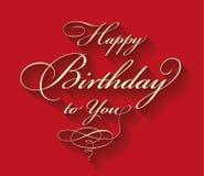 Rotulação caligráfica do feliz aniversario Imagens de Stock