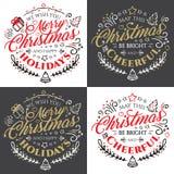 Rotulação caligráfica para o Feliz Natal e ano novo feliz com efeito dourado do brilho no fundo escuro Fotografia de Stock Royalty Free