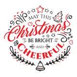 Rotulação caligráfica para o Feliz Natal e ano novo feliz no fundo branco Fotos de Stock Royalty Free