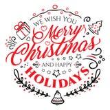 Rotulação caligráfica pelo Feliz Natal e o ano novo feliz isolada no fundo branco Fotografia de Stock