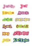 Rotulação colorida decorativa dos meses do ano com letras diferentes com esboços coloridos no fundo branco ilustração stock