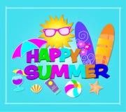 Rotulação colorida do verão feliz Vetor com ícones da praia no fundo lightblue fotografia de stock royalty free