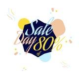 Rotulação da cor para o sinal da oferta da venda especial, até 80 por cento fora Ilustração lisa Eps 10 Fotografia de Stock
