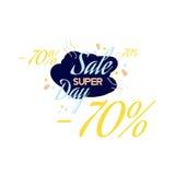 Rotulação da cor para o sinal da oferta da venda especial, até 70 por cento fora Ilustração lisa Eps 10 Foto de Stock Royalty Free