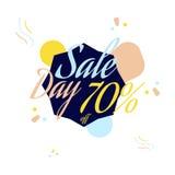 Rotulação da cor para o sinal da oferta da venda especial, até 70 por cento fora Ilustração lisa Eps 10 Fotografia de Stock