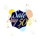 Rotulação da cor para o sinal da oferta da venda especial, até 50 por cento fora Ilustração lisa Eps 10 Imagens de Stock