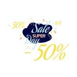 Rotulação da cor para o sinal da oferta da venda especial, até 50 por cento fora Ilustração lisa Eps 10 Foto de Stock Royalty Free