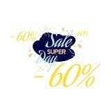 Rotulação da cor para o sinal da oferta da venda especial, até 60 por cento fora Ilustração lisa Eps 10 Foto de Stock Royalty Free