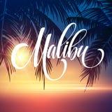 Rotulação da escrita de Malibu Califórnia no fundo tropical em folha de palmeira Ilustração do vetor ilustração stock