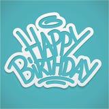 Rotulação da etiqueta do feliz aniversario Fotos de Stock