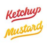 Rotulação da ketchup e da mostarda ilustração do vetor