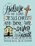 A rotulação da mão acredita em Lord Jesus Christ e no você salvar e thy casa Imagem de Stock Royalty Free