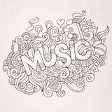 Rotulação da mão da música e elementos das garatujas Foto de Stock