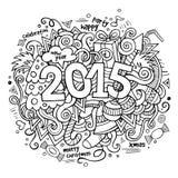 rotulação da mão de 2015 anos e elementos das garatujas Fotos de Stock
