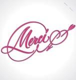 Rotulação da mão de MERCI (vetor) Imagens de Stock Royalty Free