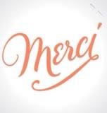 Rotulação da mão de MERCI (vetor) Foto de Stock Royalty Free