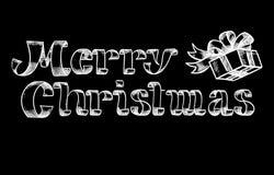 Rotulação da mão de um Natal feliz Fotografia de Stock