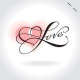Rotulação da mão do amor () ilustração stock