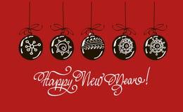 Rotulação da mão do ano novo feliz isolada no fundo vermelho Imagem do vetor Imagens de Stock Royalty Free