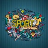 Rotulação da mão do esporte e elementos das garatujas Imagens de Stock Royalty Free
