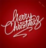 Rotulação da mão do Feliz Natal Fotos de Stock