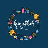 Rotulação da mão do Hanukkah Festival de luzes judaico Festa de dedicação Menorah, dreidel, velas, Torah, anéis de espuma ilustração stock