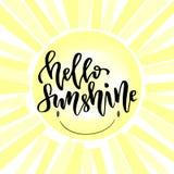 Rotulação da mão do vetor Rotulação moderna da escrita Olá! luz do sol Foto de Stock Royalty Free