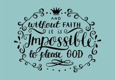 Rotulação da mão e sem fé é impossível por favor ao deus ilustração royalty free