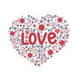 Rotulação da mão para o dia do ` s do Valentim Garatuja do amor das flores na forma de um coração ilustração do vetor