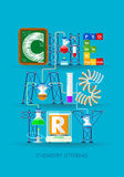 A rotulação da química formou por uma experiência com tubos de ensaio, símbolos dos elementos Foto de Stock