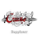 Rotulação da tipografia com elementos da flor no fundo Felicidade da palavra, língua nativa Rebecca 36 Fotos de Stock Royalty Free